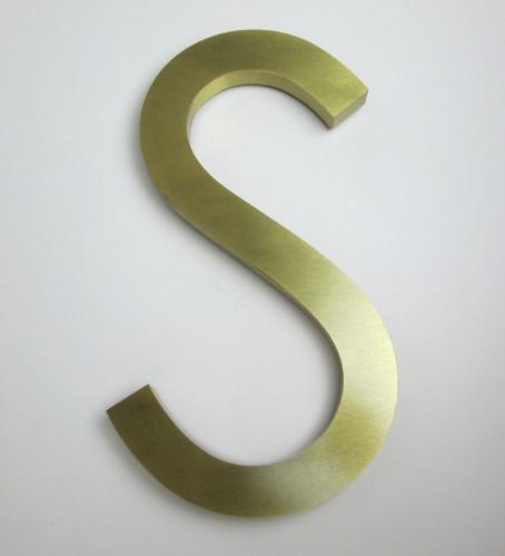 brushed finish brass letters 380mm high, 25mm returns.