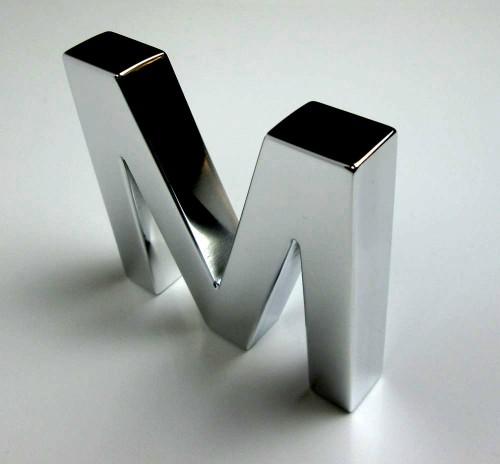 polished metal letters