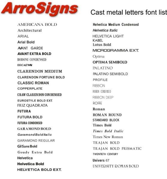 Cast Metal Letter Fonts